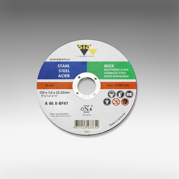 Premiumflex 125 x 22.23 mm Flat Cutting Discs for Stainless Steel [Series T41]